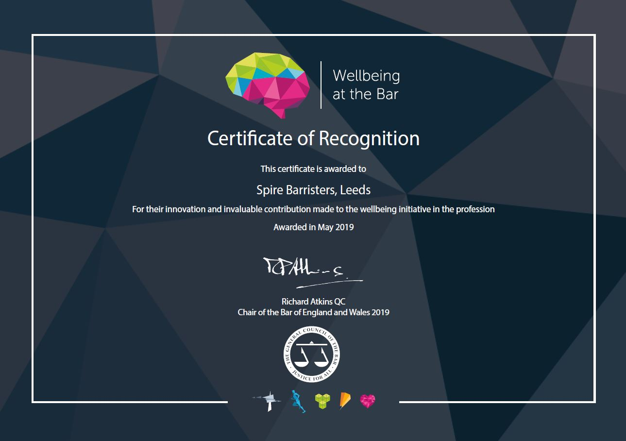 Wellbeing at the Bar Certificate of Recognition Award